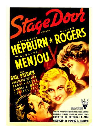 Stage Door, Adolphe Menjou, Ginger Rogers, Katharine Hepburn on Midget Window Card, 1937 Photo