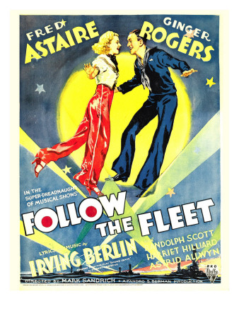 Follow the Fleet, Ginger Rogers, Fred Astaire on Window Card, 1936 Photo