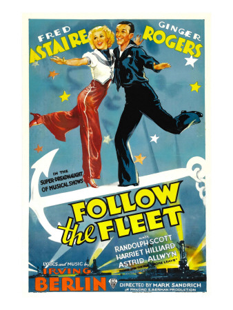 Follow the Fleet, Ginger Rogers, Fred Astaire, 1936, Poster Art Photo