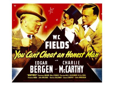 You Can'T Cheat an Honest Man, W.C. Fields, Charlie Mccarthy, Edgar Bergen on Window Card, 1939 Photo