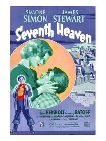 Seventh Heaven, Foreground: James Stewart, Background from Left: Simone Simon, James Stewart, 1937 Photo