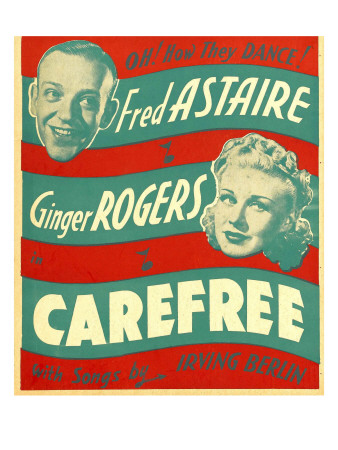 Carefree, Fred Astaire, Ginger Rogers on Window Card, 1938 Photo