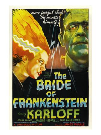 The Bride of Frankenstein, Elsa Lanchester, Boris Karloff, 1935 Photo