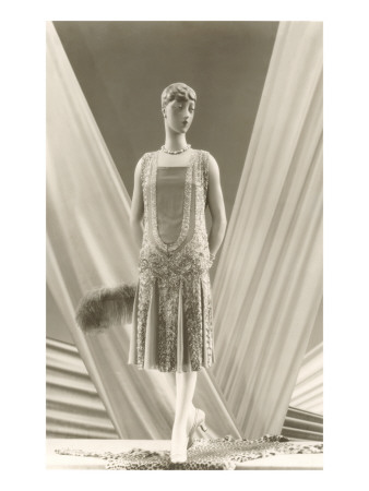 Twenties Female Mannequin in Flapper Dress Premium Poster
