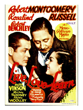 Live Love and Learn, Robert Montgomery, Robert Benchley, Rosalind Russell on Window Card, 1937 Photo