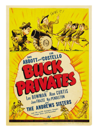 Buck Privates, Lou Costello, Bud Abbott on Midget Window Card, 1941 Premium Poster