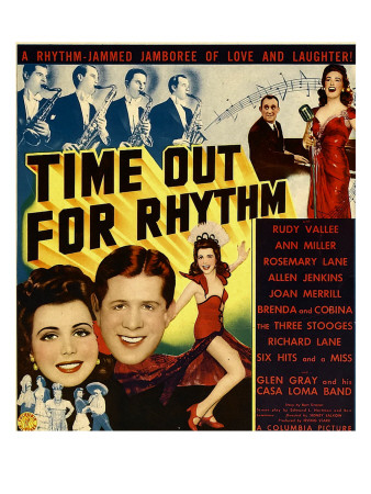 Time Out for Rhythm, Allen Jenkins, Rosemary Lane, Ann Miller, Rudy Vallee on Window Card, 1941 Foto