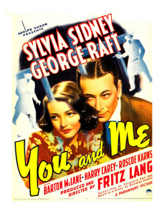 You and Me, Sylvia Sidney, George Raft on Window Card, 1938 Photo