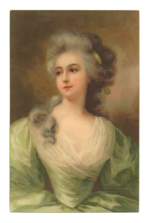 Baroque Portrait of Lady Premium Poster
