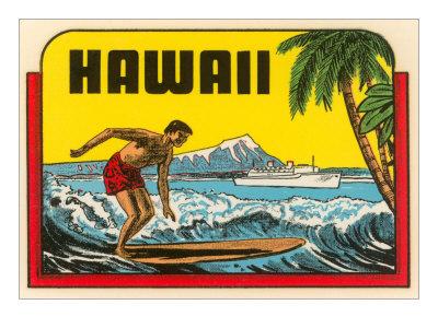 Hawaii, Surfer at Diamond Head, Cruise Ship Art