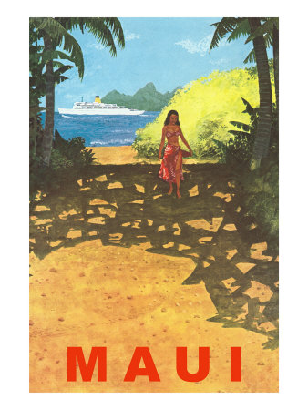 Maui, Cruise Ship, Hawaiian Girl on Jungle Path Premium Poster