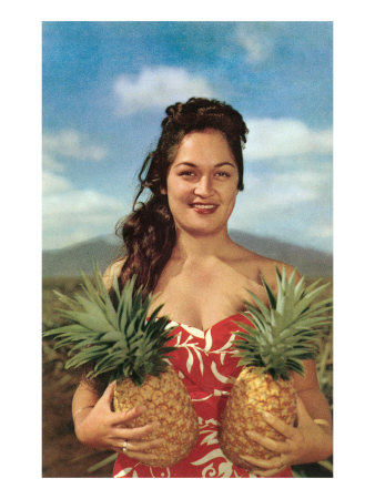 Wahini with Pineapples, Hawaii Art Print