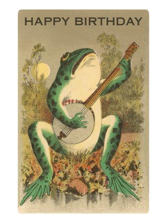 Happy Birthday, Frog with Banjo Print