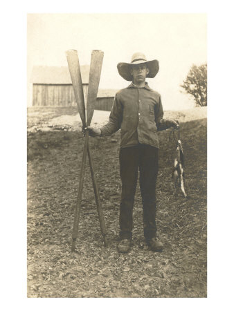 Boy in Hat with Fish and Oars Posters