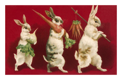 Three Rabbits Carrying Vegetables Premium Poster