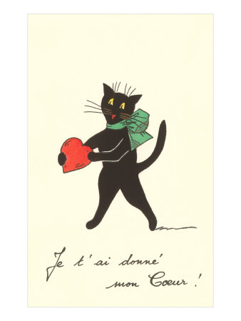 Black Cat with Heart, French I've Given You My Heart Estampe