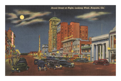 Moon over Broad Street, Augusta, Georgia Premium Poster