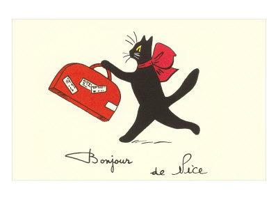 Chat noir à la valise / Chats Estampe