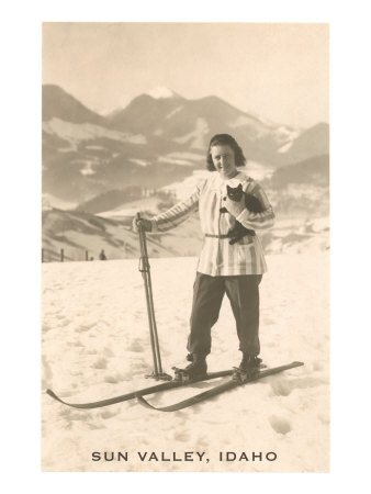 Sun Valley, Idaho, Girl Skiing with Cat Print