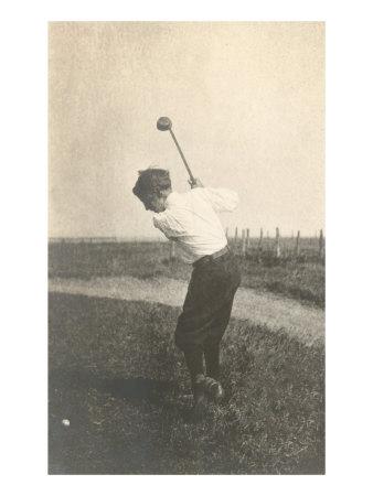 Boy Golfing in Field Prints