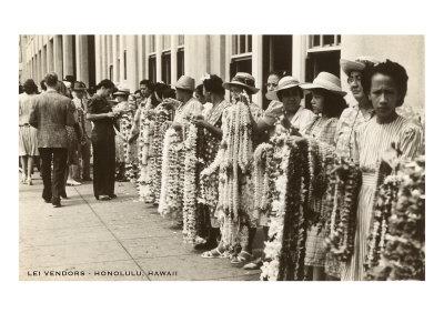 Lei Vendors, Honolulu, Hawaii Prints