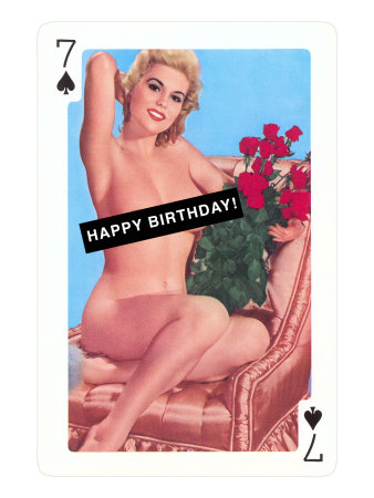 Happy Birthday, Naked Pin-Up on Playing Card Giclee Print