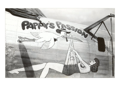 Nose Art, Pappy's Passion Pin-Up with Stork Prints