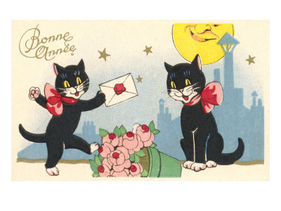French Black Cats, Bonne Annee Estampe