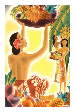 Hawaiian Women with Fruit, Graphics Premium Poster
