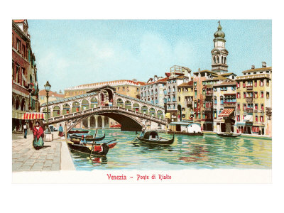 Painting of Rialto Bridge, Venice, Italy Prints