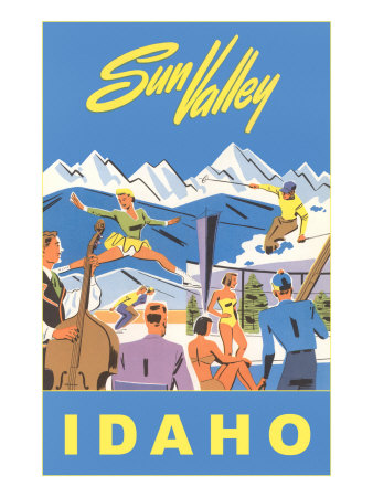 Sun Valley, Idaho, Graphic of Winter Resort Activities Premium Poster