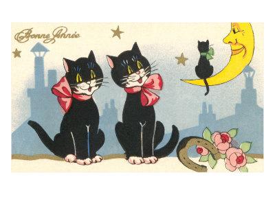 Bonne Annee, Black Cats Estampe