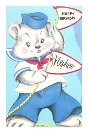 Happy Birthday Nephew, Bear in Sailor Suit Masterprint