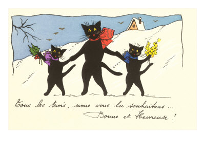 French Black Cats in Snow Estampe
