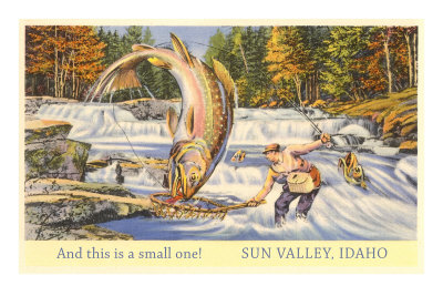 And This is a Small One, Sun Valley, Idaho, Giant Fish Premium Poster