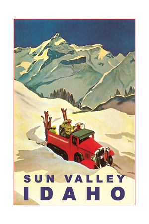 Sun Valley, Idaho, Vintage Truck with Skiers Premium Poster