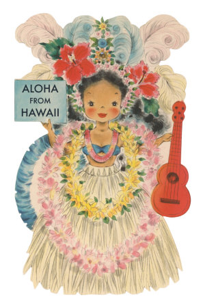Aloha from Hawaii, Doll with Ukulele Premium Poster