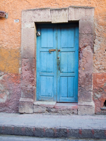 Old Blue Door, San Miguel, Guanajuato State, Mexico Photographic Print by Julie Eggers