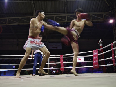 Thai Kickboxing Demonstration, Chiang Mai, Thailand Photographic Print by Adam Jones