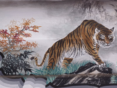 Tiger Painting on Outdoor Corridors, Zhongshan Park, Beijing, China Photographic Print by Adam Jones