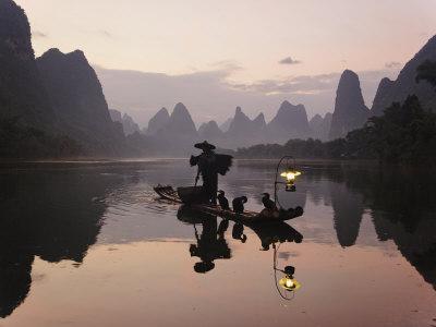 Traditional Chinese Fisherman with Cormorants, Li River, Guilin, China Photographic Print by Adam Jones