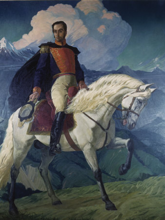 Painting of Simon Bolivar Hangs in Miraflores Palace Fotografisk tryk af Luis Marden