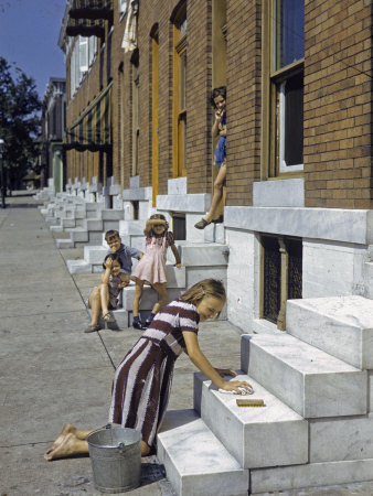 Little Girl Washes Marble Steps of a Row House in Baltimore Photographic Print by W. Robert Moore