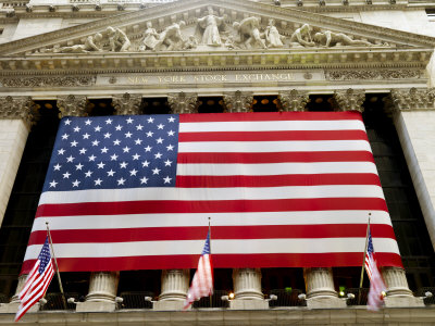 Facade of the New York Stock Exchange Draped in the American Flag Photographic Print by  xPacifica