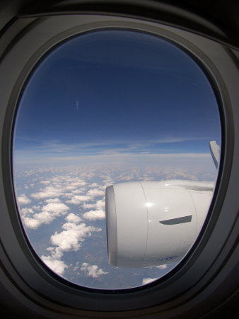 View Out of an Airplane Window During Flight Fotoprint av Greg Dale