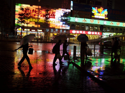 People Walking in Shenzhen on a Rainy Night Photographic Print by Randy Olson