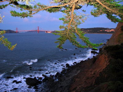 Golden Gate Bridge Seen from Legion of Honor, Mile Rock Beach Area Photographic Print by Raymond Gehman