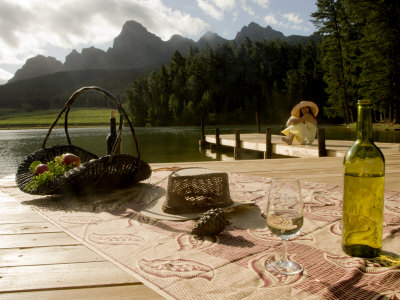 Glass of Wine and an Open Bottle in South Africa's Wine Country Photographic Print by Annie Griffiths Belt
