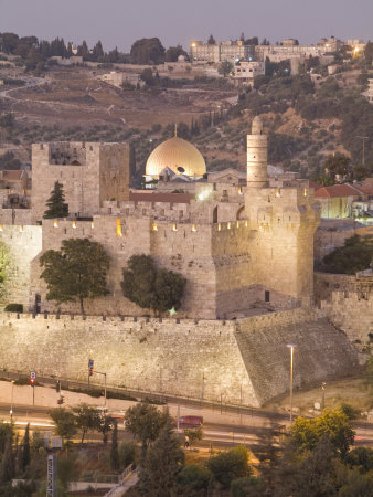 Dome of the Rock with Tower of David Museum, at Jaffe Gate in Jerusalem's Old City Photographic Print by Richard Nowitz