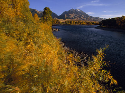 Autumnal View of Paradise Valley and the Yellowstone River. Emigrant Peak in Distance Photographic Print by Annie Griffiths Belt